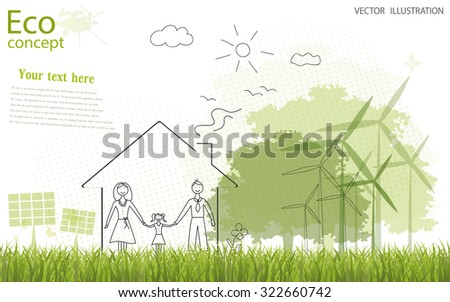 Tree silhouette, family, home, solar panels, mill on the green grass. Ecologically clean world. Vector illustration of ecology the concept of information graphics. Doodle. To paste the text - stock vector