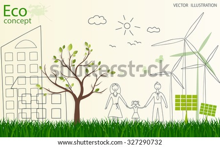 Tree silhouette, family, home, solar panels, mill on the green grass. Ecologically clean world. Vector illustration of ecology the concept of information graphics. Doodle.  - stock vector