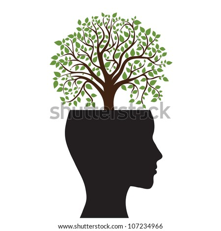 Tree silhouette of a man's head, vector image - stock vector