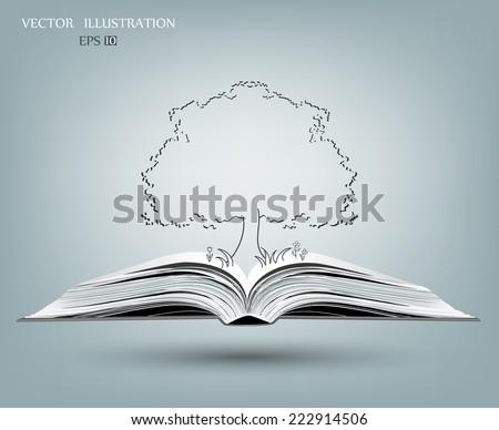 Tree silhouette on open book, Vector illustration - stock vector