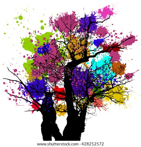 Colorful Tree Background Stock Vector 76634257 Shutterstock