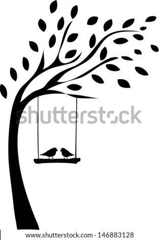 Tree Silhouette Two Birds Stock Vector 146883128