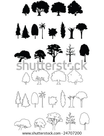 Tree Silhouettes - vector illustration