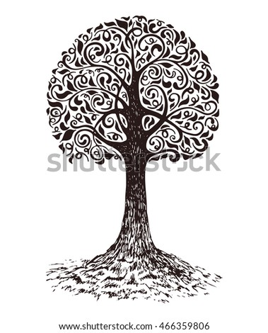 Tree sketch decoration leaves. Hand drawn vector illustration.