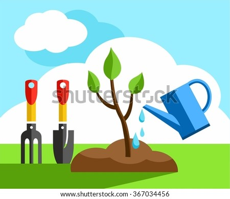 Tree, small, gardening, coloured illustrations. In the earth a small tree planted it and watered from a watering can. Color flat illustration. Landscaping, landscape design.   - stock vector