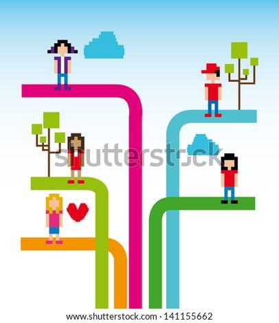 tree social network over sky background vector illustration - stock vector