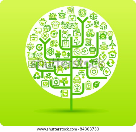 Tree symbol made from small eco,bio,natural icons - stock vector