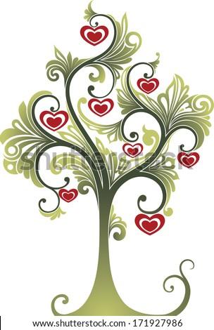 Tree. Symbol of love - stock vector