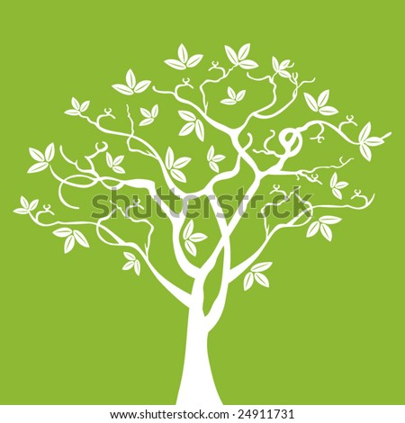 tree (use with or without leaves layered)) - stock vector