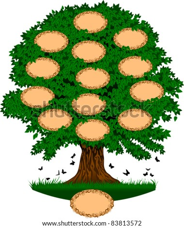 tree; which can be used as a family tree. The number of ''name here'' section easily can be increased.; - stock vector