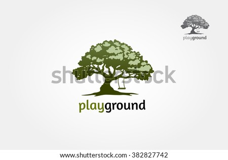 tree with a child play the swing under the tree, this logo symbolize a protection, peace,tranquility, growth, and care or concern to development, vector logo illustration - stock vector