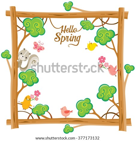 Tree With Animal On Square Frame, Spring Season, Lettering, Border, Nature