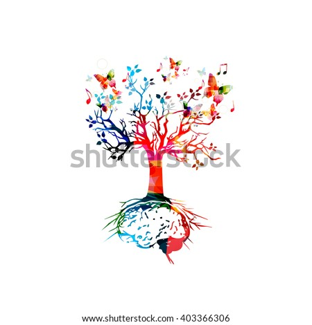Tree with brain root, brainstorming concept - stock vector