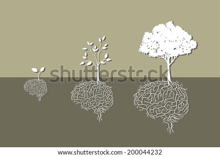 tree with brain root, vector - stock vector