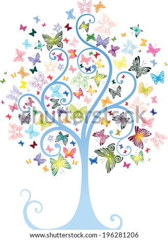 Tree with butterflies - stock vector