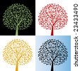 Tree with color choices - Each tree one unit - stock vector