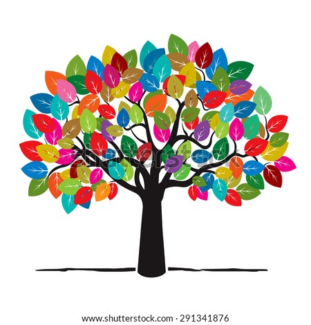 Tree with Color Leafs. Vector Illustration. - stock vector