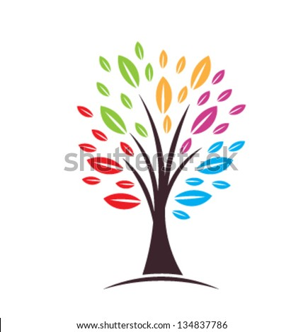 Tree with color leaves - stock vector