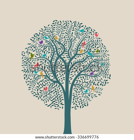 Tree with colorful birds, eps10 vector