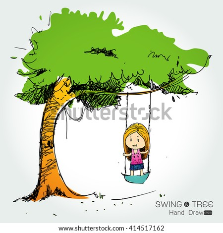 tree with Cute Little Girl swinging  hand draw from imagination,Vector illustration - stock vector