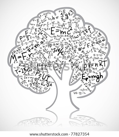 Tree with equations and formula - stock vector