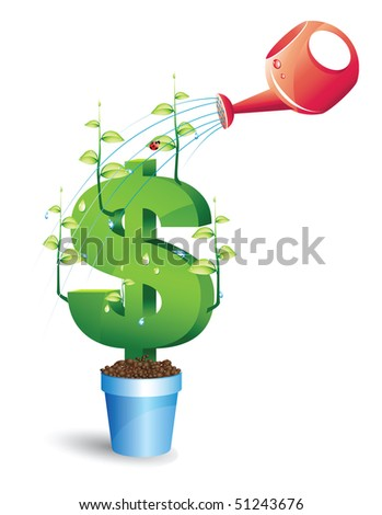tree with green leafs and money and blue watering investment concept theme over white - stock vector