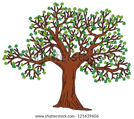 Tree with green leaves - vector illustration.