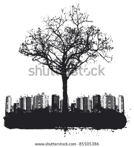tree with grunge city background - stock vector