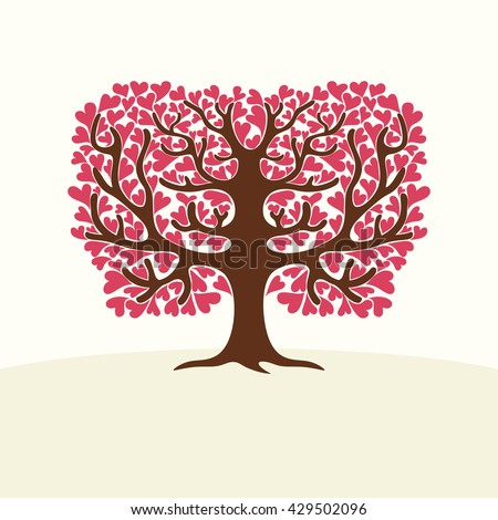 Tree with hearts. Vector Illustration. - stock vector