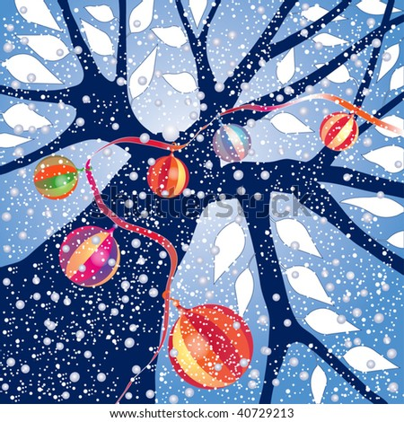 Tree with holiday ornaments under falling snow, sky blue background, vector illustration