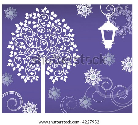 tree with lantern and snowflakes vector - stock vector