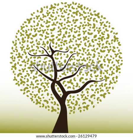 tree with leaves and berries (layered for changes) - stock vector