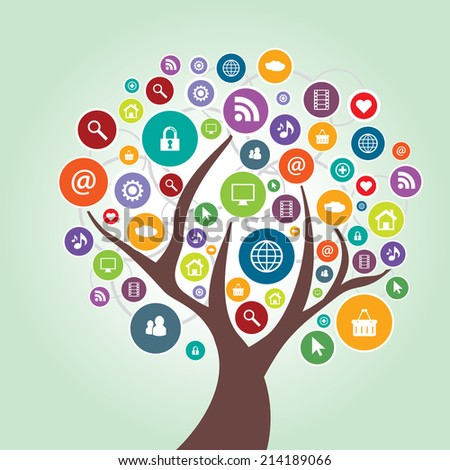 Tree with leaves in the shape of circles with icons of social media