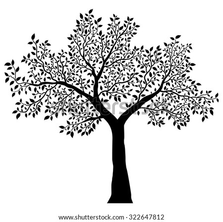 tree with leaves vector - stock vector