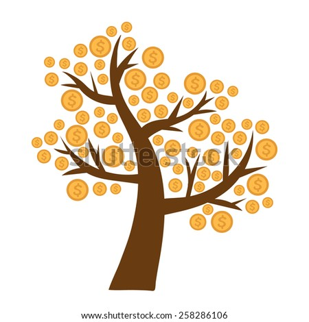 Tree with money growing on it  - stock vector