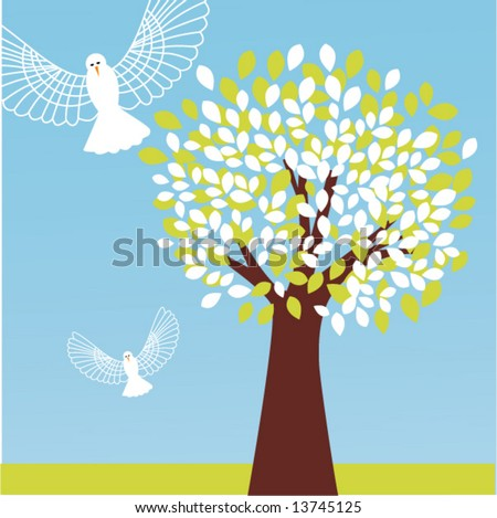 tree with owls in flight - stock vector
