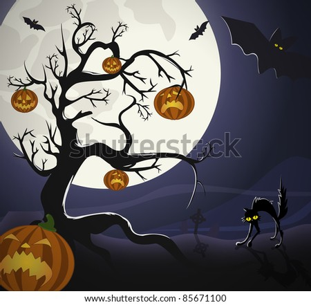 Tree with pumpkin-heads and black cat on the graveyard, under Halloweens moonlight./Halloween Night