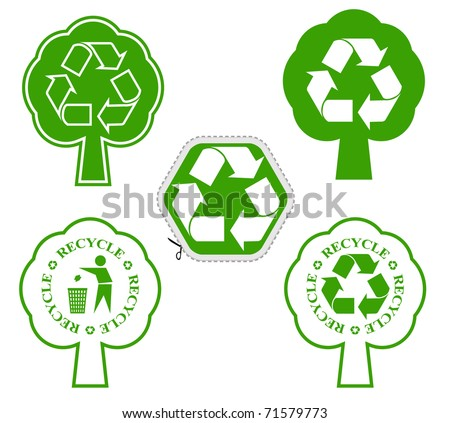 tree with recycle symbol - stock vector