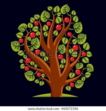 Tree with ripe apples, harvest season theme illustration. Fruitfulness and fertility idea symbolic image.  - stock vector