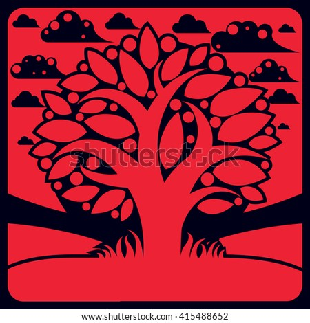 Tree with ripe apples placed on stylized background, harvest season theme illustration. Fruitfulness and fertility idea symbolic image.  - stock vector