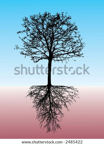 tree with roots - stock vector