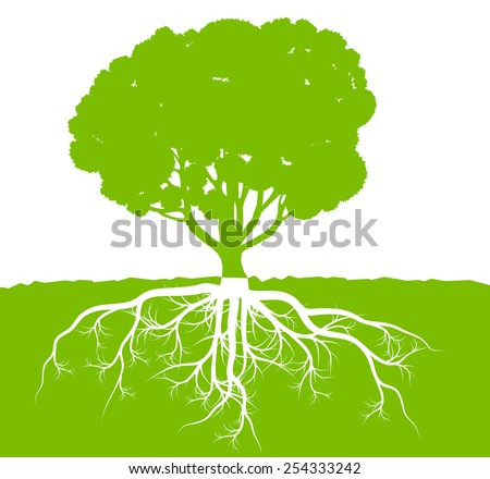 Tree with roots background ecology vector concept - stock vector