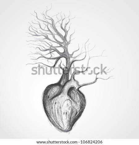 Tree with roots like heart / Surreal realistic sketch - stock vector