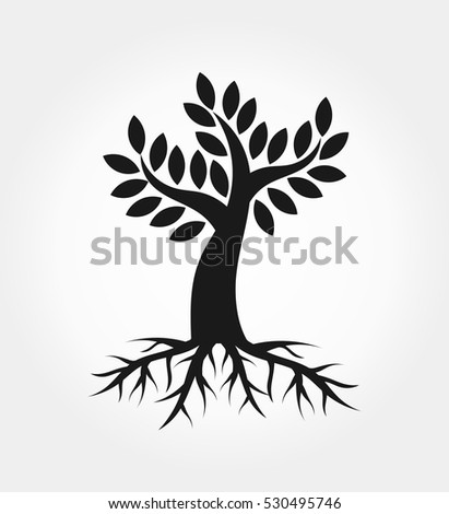 Tree with roots shape icon illustration