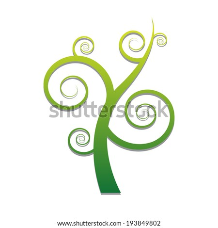 Tree with spiral branch ,vector eps10