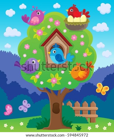 Tree with stylized birds theme image 4 - eps10 vector illustration.