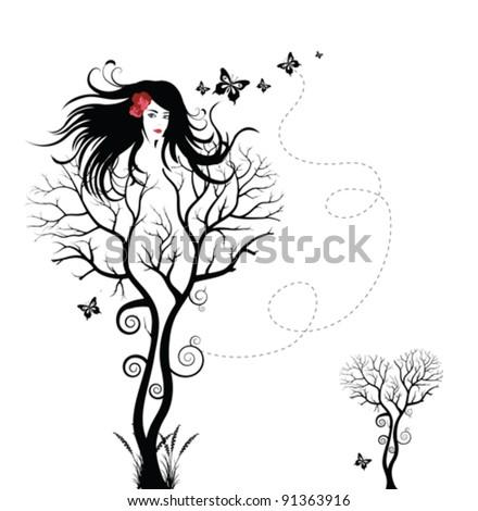 Tree woman - stock vector