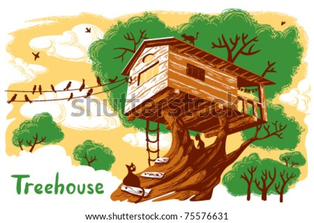 Treehouse illustration - stock vector