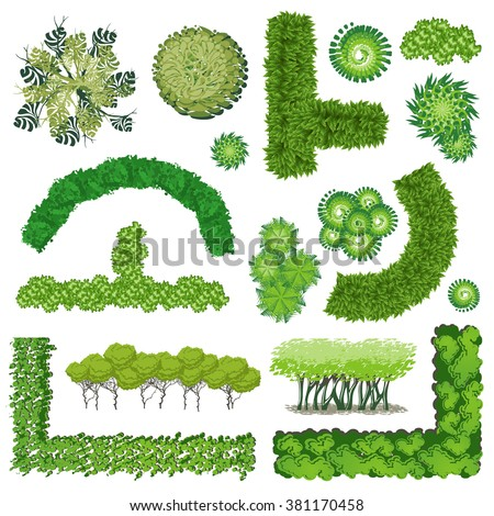 Trees Bush Item Top View Landscape Stock Vector (Royalty ...