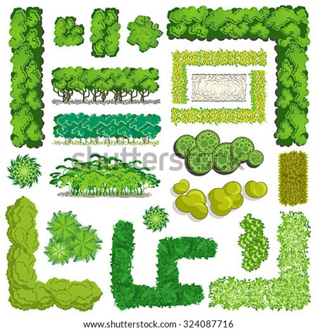 Trees and bush item top view \ top side for landscape design, vector icon - stock vector